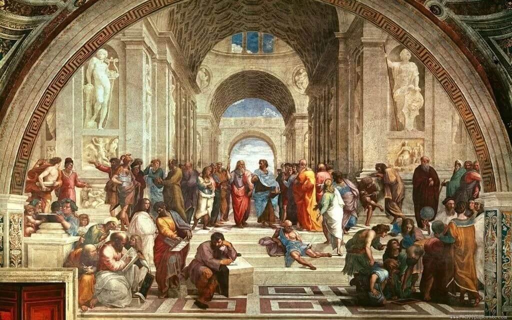 古希臘文化之拉斐爾的「雅典學院」油畫